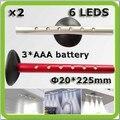 O transporte da gota 2 * magnética CONDUZIU a luz do armário gabinete Armario lampara 6 * 3528SMD LED AAA bateria para armário de cozinha vitrine
