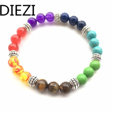 DIEZI New Men Women 7 Chakra Bracelets Bangle Colors Mixed Healing Crystals Stone Chakra Pray Mala Bracelet Jewelry