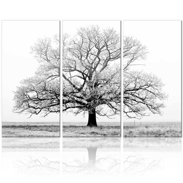Black and white tree picture painting canvas wall art wall decor modern artwork nature landscape photo