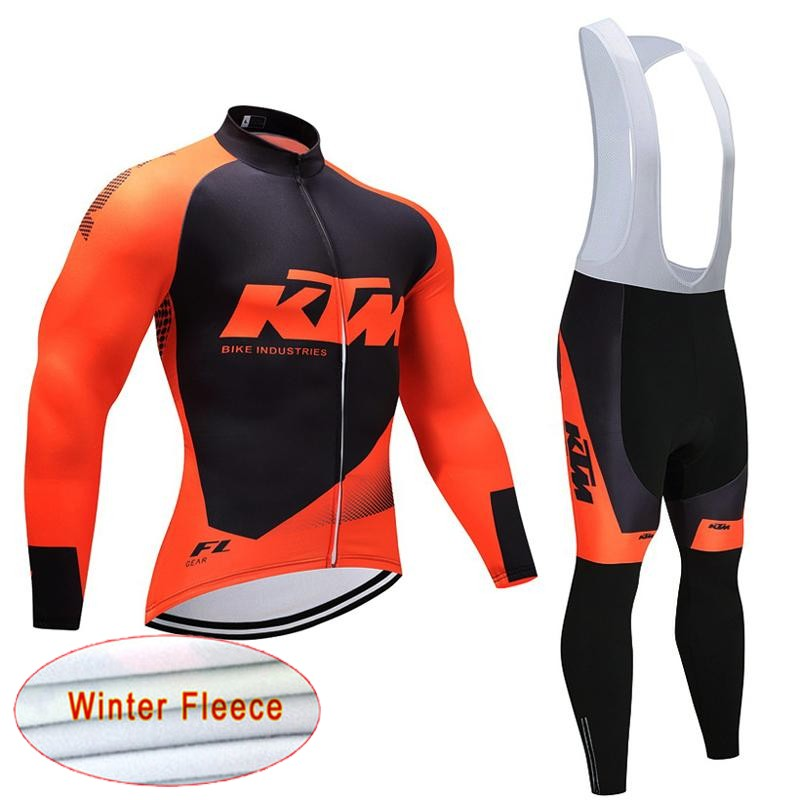 2018 KTM Winter Fleece Cycling Jersey MTB Long Sleeve Ropa Ciclismo Pro Bicycle Bib Pants Set Cycling Clothes Bike Wear C0204 male team cycling jerseys autumn cycling clothes long sleeve bike jersey winter fleece bicycle riding suits free shipping