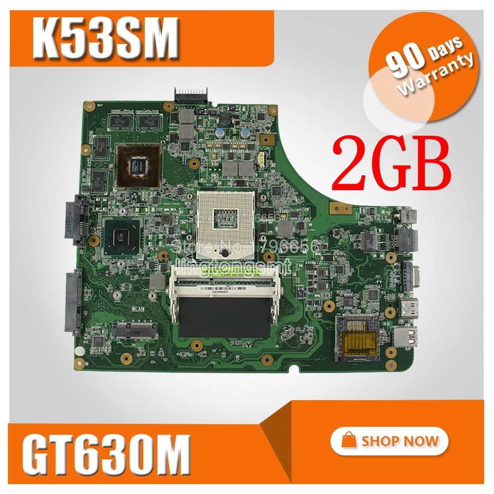 цена на K53SM Motherboard REV3.1 GT630M 2GB 3.0 USB For ASUS X53S A53S K53S K53SC K53SM K53SV Laptop motherboard K53S K53SV Mainboard