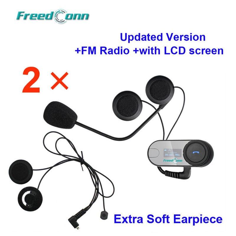 Free Shipping LCD Screen 2PCS Original FreedConn Motorcycle Helmet Intercom Bluetooth Intercom with FM Radio Extra