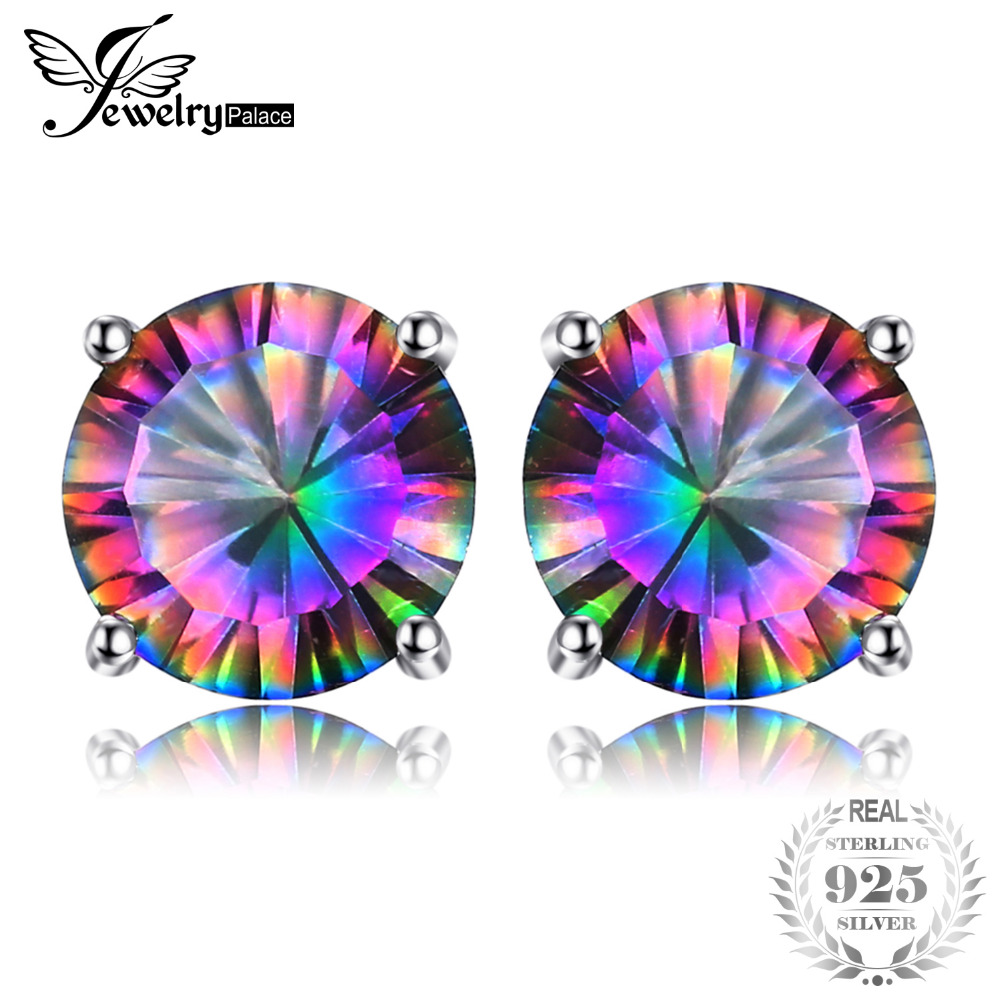 Natural Rainbow Mystic Topaz Stud Earrings Solid 925 Sterling Silver Earrings For Girls Women Gemstone Jewelry Women Fashion pair of stylish rhinestone triangle stud earrings for women