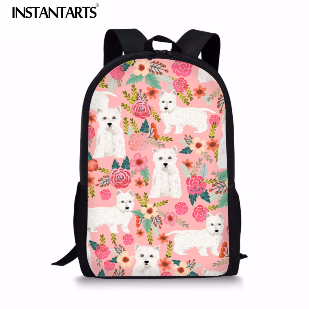 Instantarts Teenager School Bag Cute Westie Floral Dog Print Children Large Capacity Youth Girl School Backpack Children Satchel Elegant And Sturdy Package Luggage & Bags School Bags