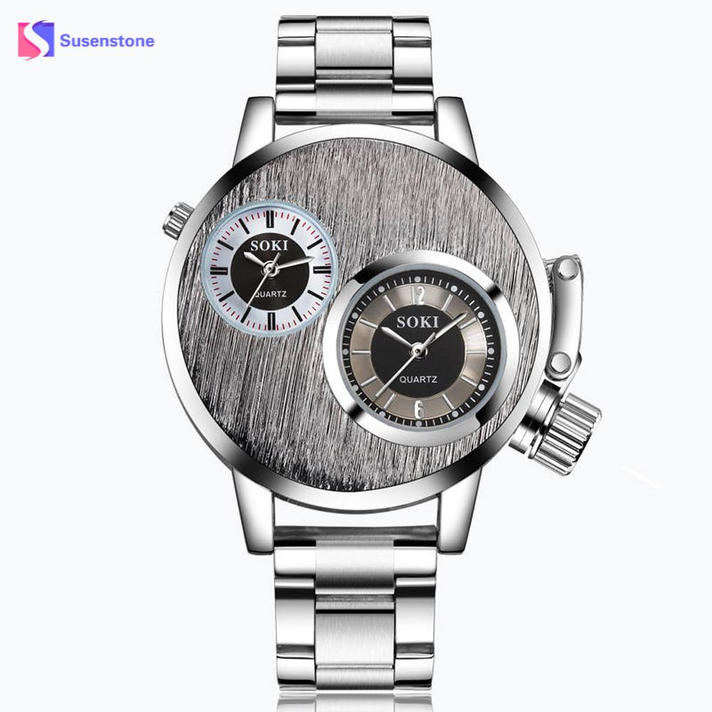 Mens Watch Men Dual Display Business Wrist Watch Mens Crystal Stainless Steel Exquisite Watch Analog Quartz Wrist Watches Clock cocoshine a 999 mens stainless steel business quartz wrist watch blu ray wholesale