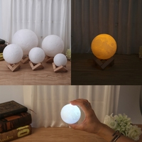 YAM 3D Magical LED Luna Night Light Moon Lamp Desk USB Charging Touch Control Home