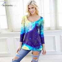 Romantichut Kühlen Raum Universum 3D Druck T-shirt Top Frauen galaxy Digitaldruck 3/4 Hülse T-Shirt Plus Größe Weibliche Kleidung