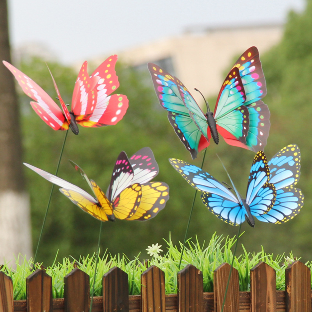 15pcs 4cm Or 7cm Artificial Butterfly Garden Decoration Simulation Butterfly Stakes Yard Plant