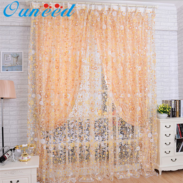 Panel Curtains 2017 Hot Orange Print Floral Voile Door Sheer Window Curtains  Room Curtain Divider 100X200CM Scrapbooking 17jun1