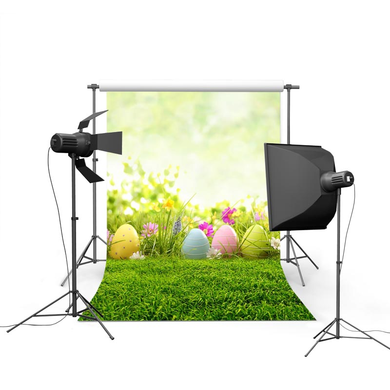2017 new spring easter photography backdrops sky grass land eggs new born baby children photographic background Easter Day P1206