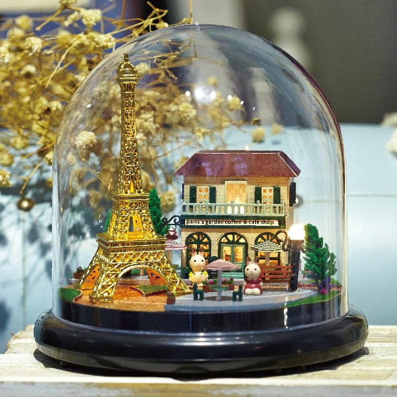 DIY बिल्डिंग किट मिनी डॉलहाउस ROMATIC पेरिस लघु खिलौना हाउस मॉडल बच्चों के खिलौने लड़कियों जन्मदिन का उपहार वेलेंटाइन वर्तमान