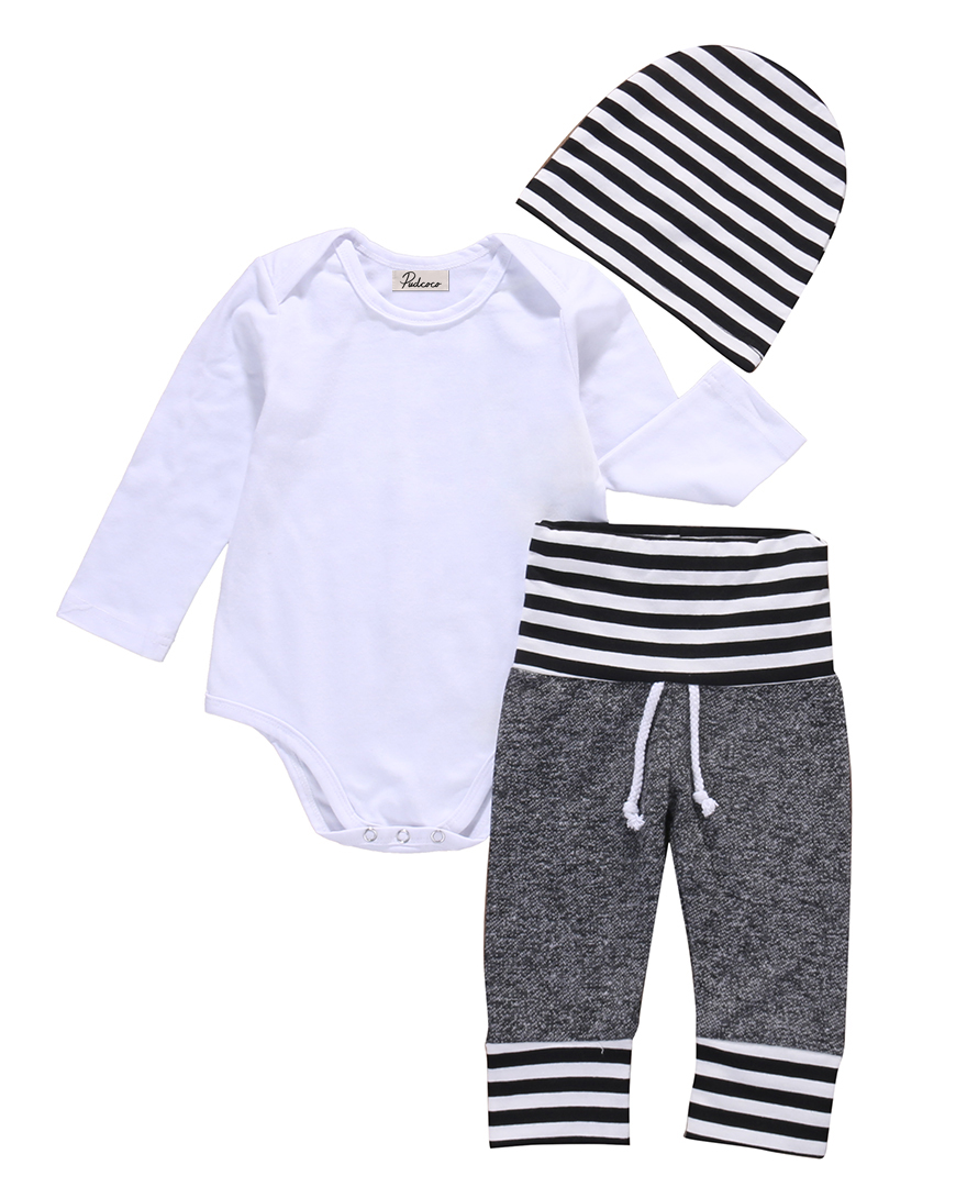 3pcs Kids Baby Autumn Clothes Newborn Baby Boy Long Sleeve Rompers Striped Bottom Pants Hat Pajamas Outfit Set Clothes Cotton 2pcs newborn baby boys clothes set gold letter mamas boy outfit t shirt pants kids autumn long sleeve tops baby boy clothes set