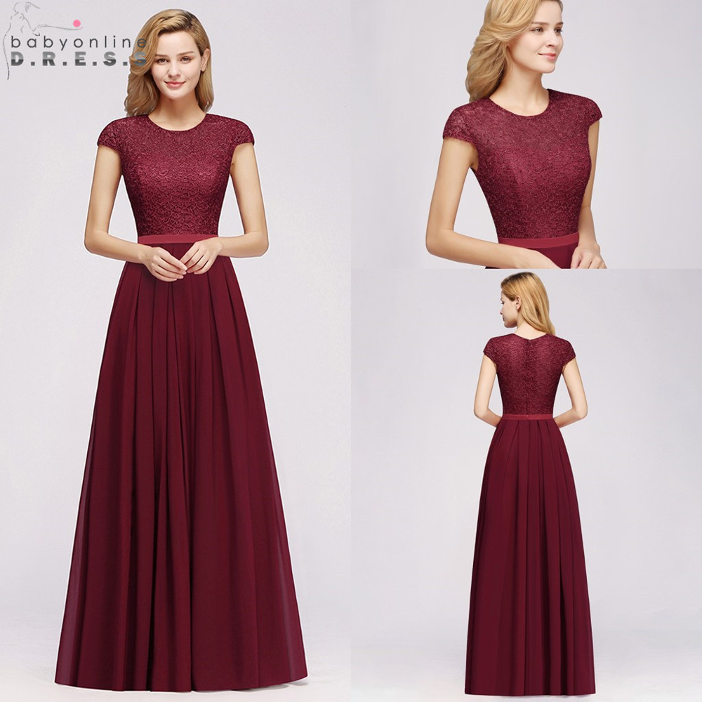 Party-Dresses Short-Sleeve Evening-Dress Lace Chiffon Burgundy Formal Elegant Long Charming