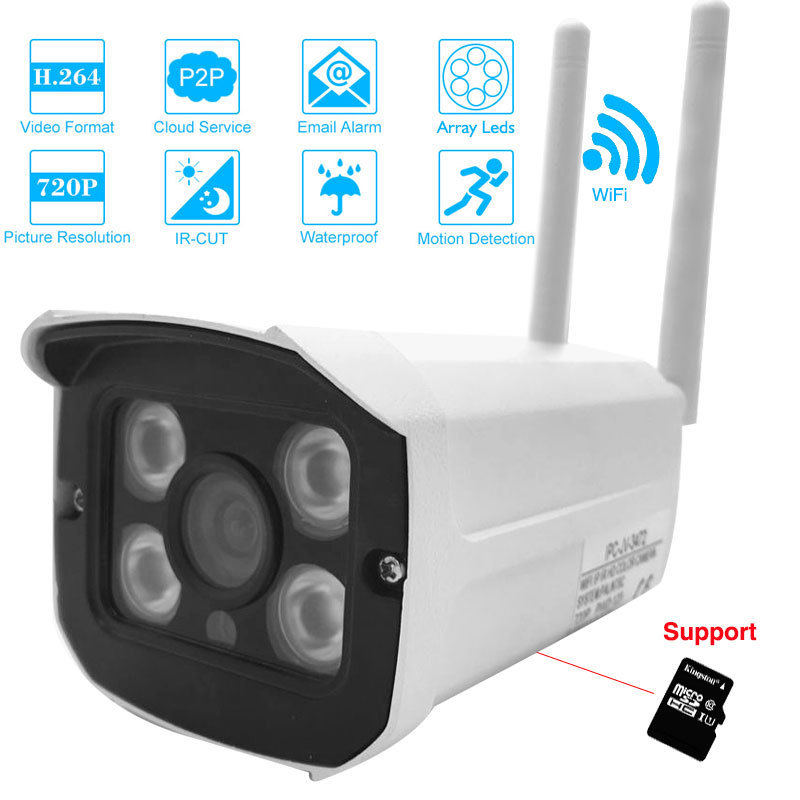 IP Camera 720p HD Wifi Wireless Night Vision TF Card Slot Outdoor Waterproof  Mini Bullet Security CCTV Cameras стоимость