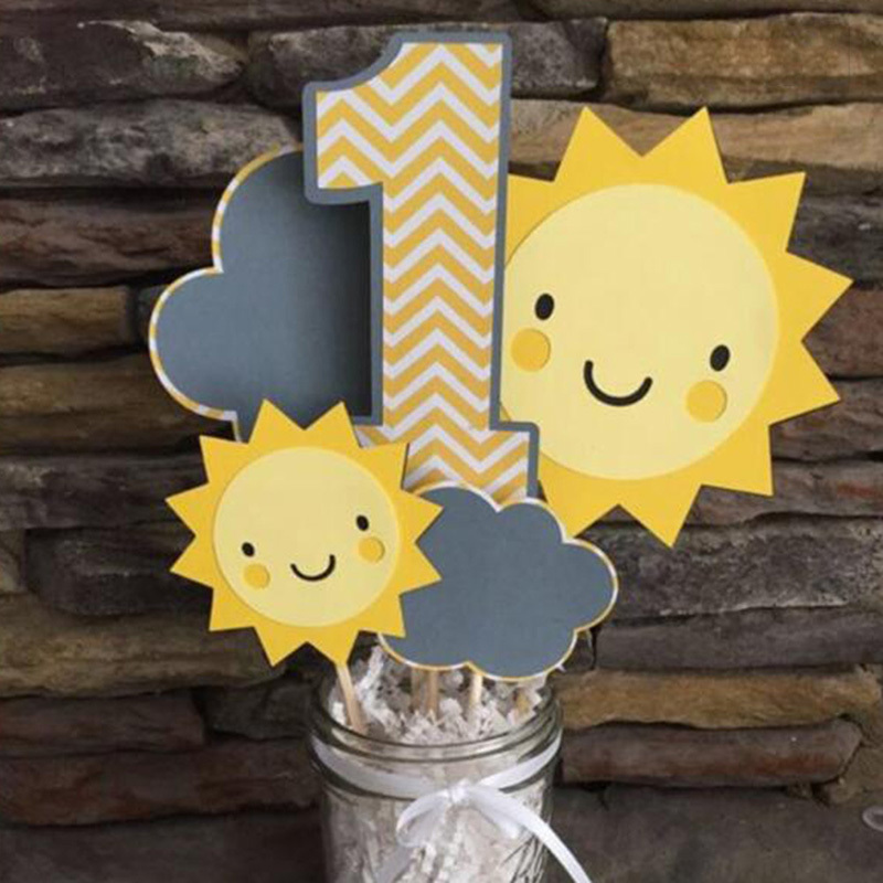 Cloud Sun Paper Cake Topper Kids Children 1st Happy Birthday Cake Decorating Supplies Cupcake Insert Decorations Party Supplies