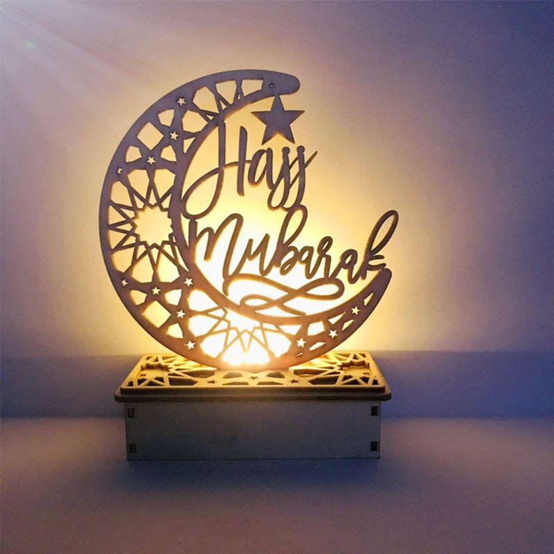 New LED Eid Al Adha Mubarak Decor Moon Star Islam Hajj Hanging Decoration Pendant Plate with  Party Decorations