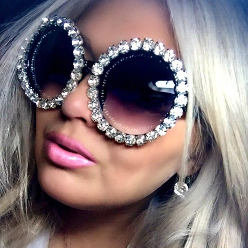 Lujo Oversize gafas de sol mujer vintage Rhinestones gafas de sol gafas redondas hombres sombras para las mujeres oculos feminino