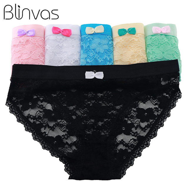 6e45505be Blinvas 5pcs lot Panties Lace Panties Patchwork Black Bow H01 Women Underwear  Panty Sexy Women Underwear