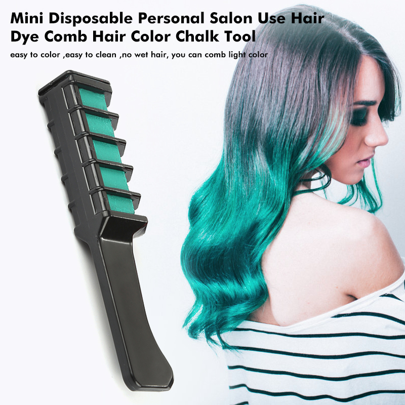 1PCS Personal Salon Use Mini Hair Dye Comb Disposable Crayons Grey Purple Red Hair Color Chalk Hair Styling Dyeing Tool