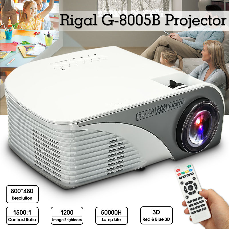 1200 Lumens HD LED Projector 3D Large Screen Home Theater Cinema LCD HDMI AV/VGA/USB/SD/HDMI Multimedia Beamer