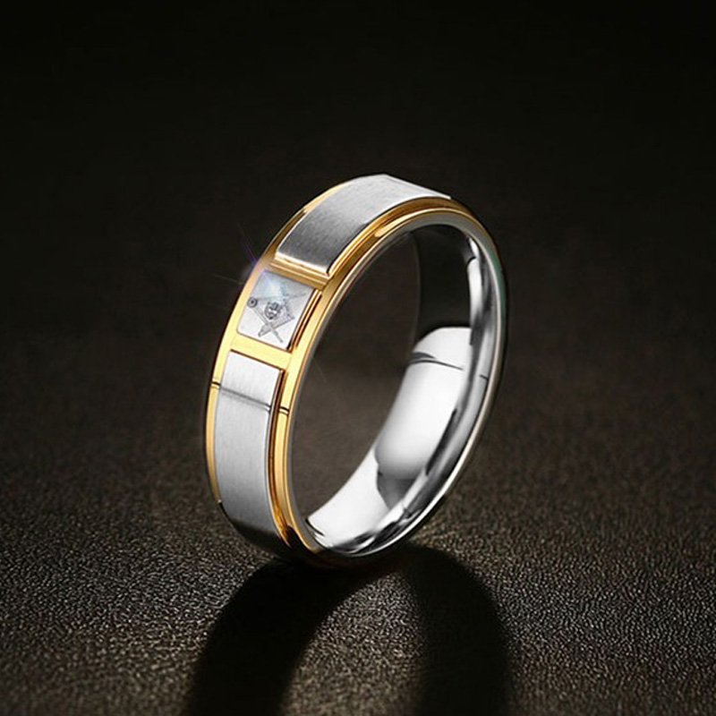 Classic Masonic Finger Ring for Men 6mm Stainless Steel Wedding Bands Male Jewelry Gold Silver Tone