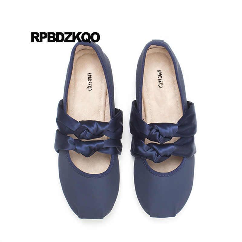 e7a89cab374d Slip On Shoes Navy Blue Ladies Bow Mary Jane Cute Kawaii Square Toe  Ballerina Silk Designer