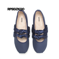 Slip On Shoes Navy Blue Ladies Bow Mary Jane Cute Kawaii Square Toe Ballerina Silk Designer Satin Pink Soft Ballet Flats Women