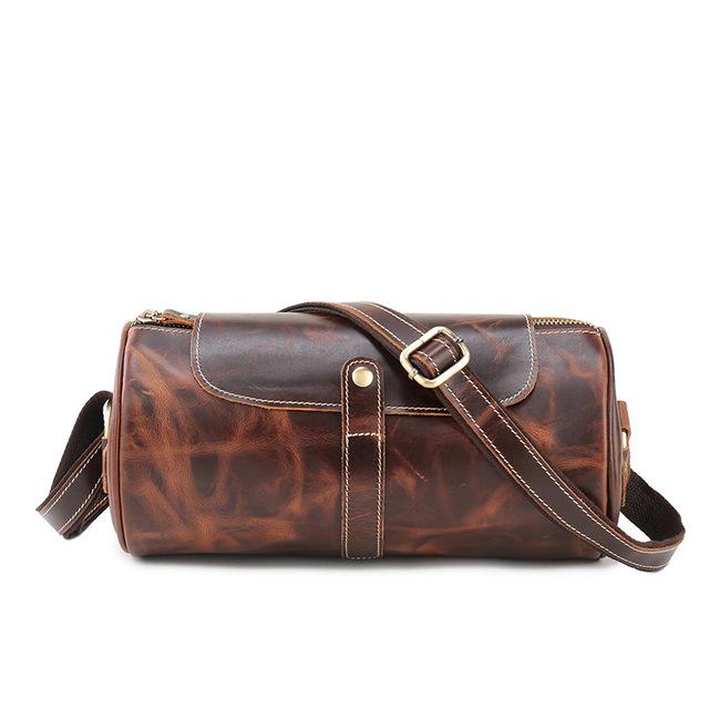 The new 2017 single shoulder bag retro crazy horse leather drum bag inclined shoulder bag