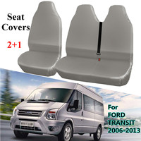 2+1 Gray Waterproof Van Seat Covers Protector for FORD TRANSIT 2006 2013