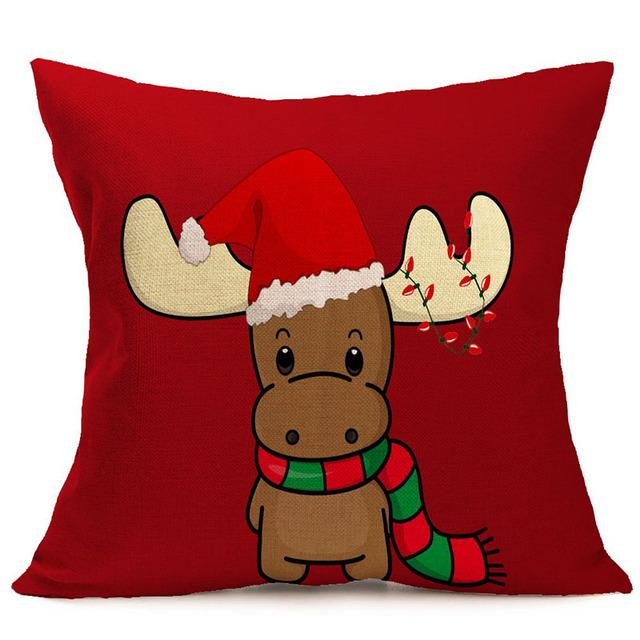 Christmas Series Pillow Cover Santa Claus Cushion Case Xmas Tree Throw Pillowcase Christmas Gift Supplies For Home Pillow Cases