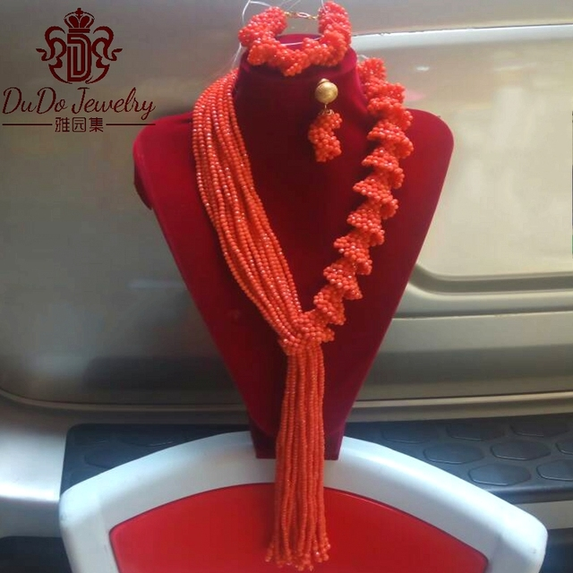 Dubai Orange Flowers Jewelry Sets Brand New Handmade African Nigerian Wedding Beads Supplies For Costume Jewelry Store 2017