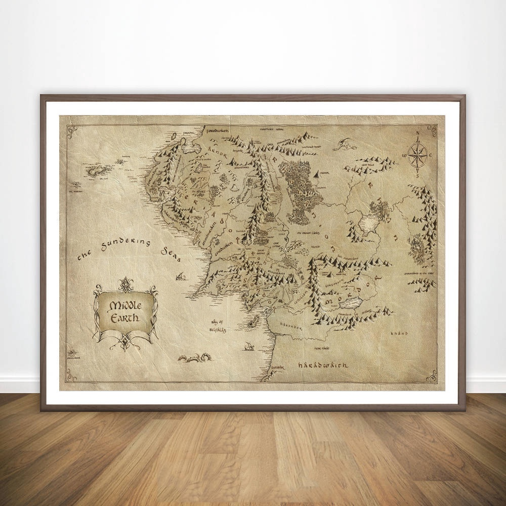 Map of Middle Earth from Lord of the Rings Movie Wall Art Paint Wall Decor Canvas Print Canvas Art Poster Oil Paintings No Frame image