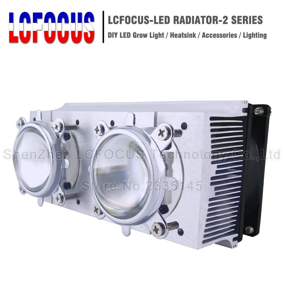 LED Radiateur De Refroidissement Radiateur + 60 90 120 Degrés Len + Réflecteur Support + Fans Pour 20 30 50 100 200 w Watt LED COB