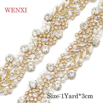 WENXI 5YARDS  Wholesale Iron On Silver Bridal Belt Sewing Beaded Crystal Rhinestone Applique Trim For Wedding Dress Sash WX931