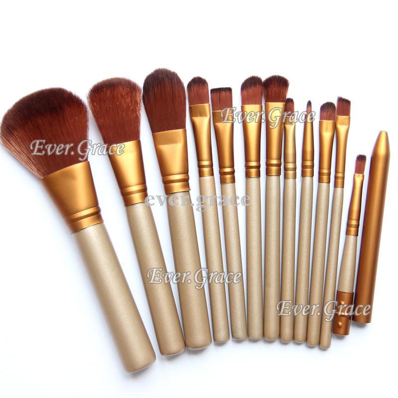 12pc Golden Makeup Brushes Set Foundation Eye Shadow Lip Blush Contour Brush Kit