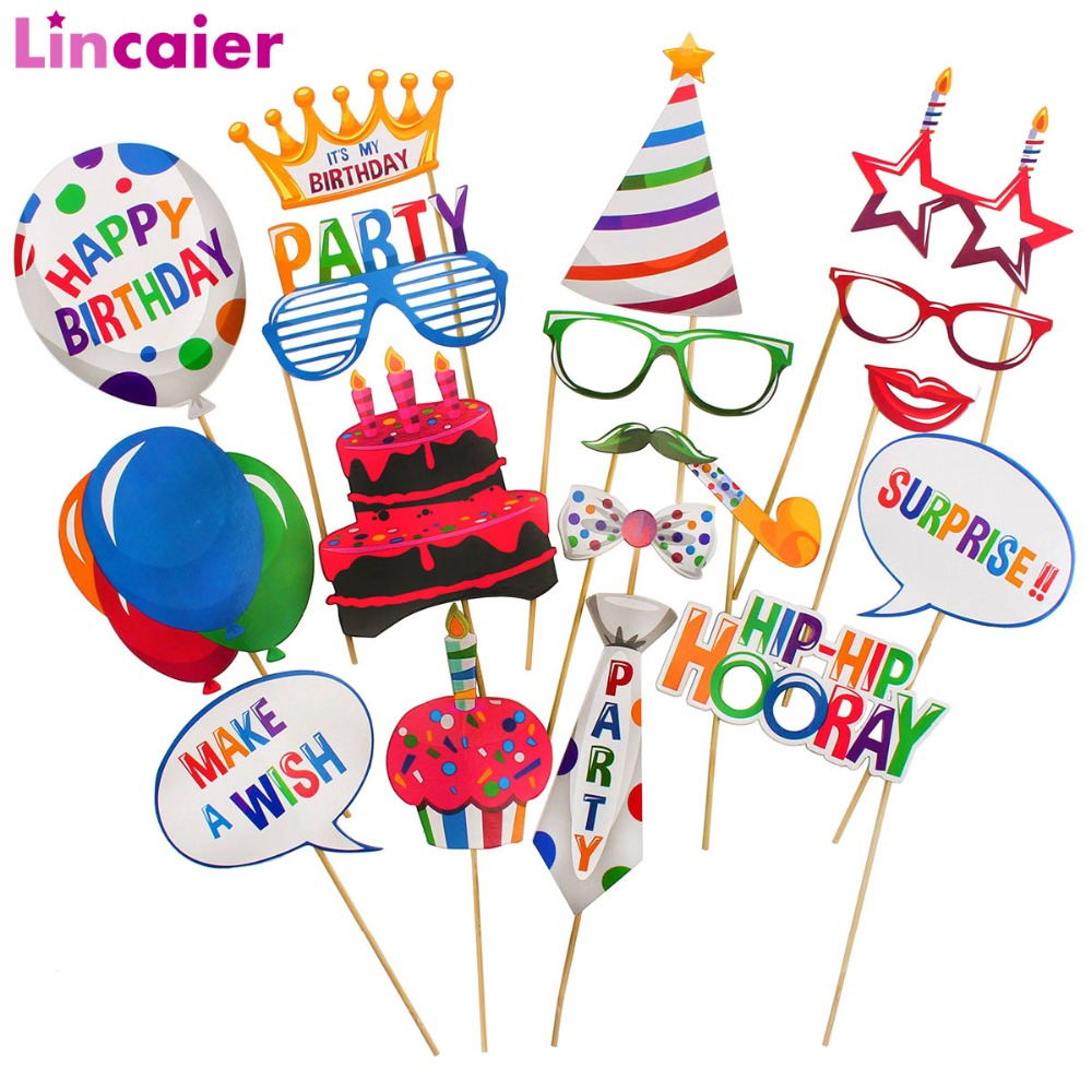 Lincaier 18Pcs Photobooth Props Happy <font><b>Birthday</b></font> Party Decorations Kids Boy Girl Adult DIY Supplies <font><b>18th</b></font> 21st 30 40 50 60 image
