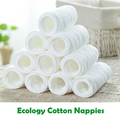 10PCS Ecology Cotton Reusable Nappies Baby Cloth Diaper 6-Layers Strong Absorbent Cloth Diaper Inserts