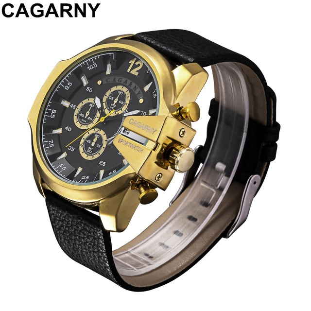 da687ebe56 CAGARNY Military Army Watches Men s Large Dial Sports Quartz Watch Leather  Analog Movt Clock Mega Chief