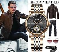 Binger Skeleton Automatic Mechanical Watches Mens Top Brand Luxury Business Full Steel Winner Wristwatch Clock Hour