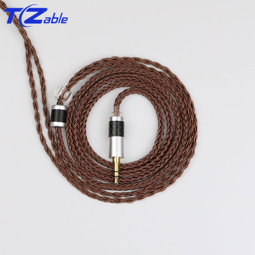 Audio Cable For IE80 DIY Earphone 2.5mm 3.5mm 4.4mm 16 Strands Single Crystal Copper Silver Plated Headphones Upgrade Cable