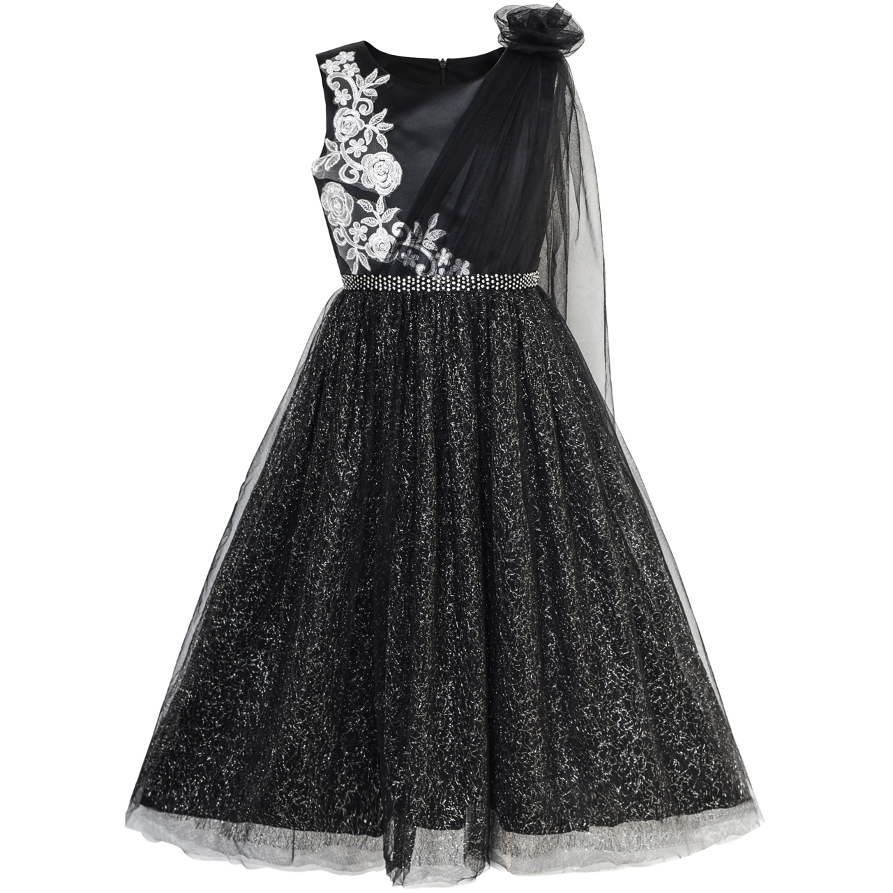 Sunny Fashion Girls Dress Black Sparkling Tulle Lace Party Prom Gown 2018 Summer Princess Wedding Dresses Kids Clothes Size 6-12 sunny fashion girls dress lace collar princess elegant birthday party 2017 summer wedding dresses children clothes size 4 12