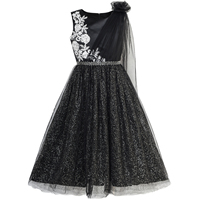 Sunny Fashion Girls Dress Black Sparkling Tulle Lace Party Prom Gown 2018 Summer Princess Wedding Dresses