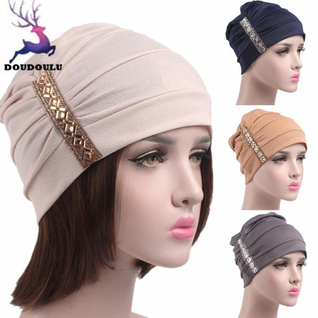 9cd05501f8b8e DOUDOULU Womens Winter Hat Rhinestones Winter Hats For Women Elegant Chemo  Hat Beanie Scarf Turban Head Wrap Cap Dropshipping ZH