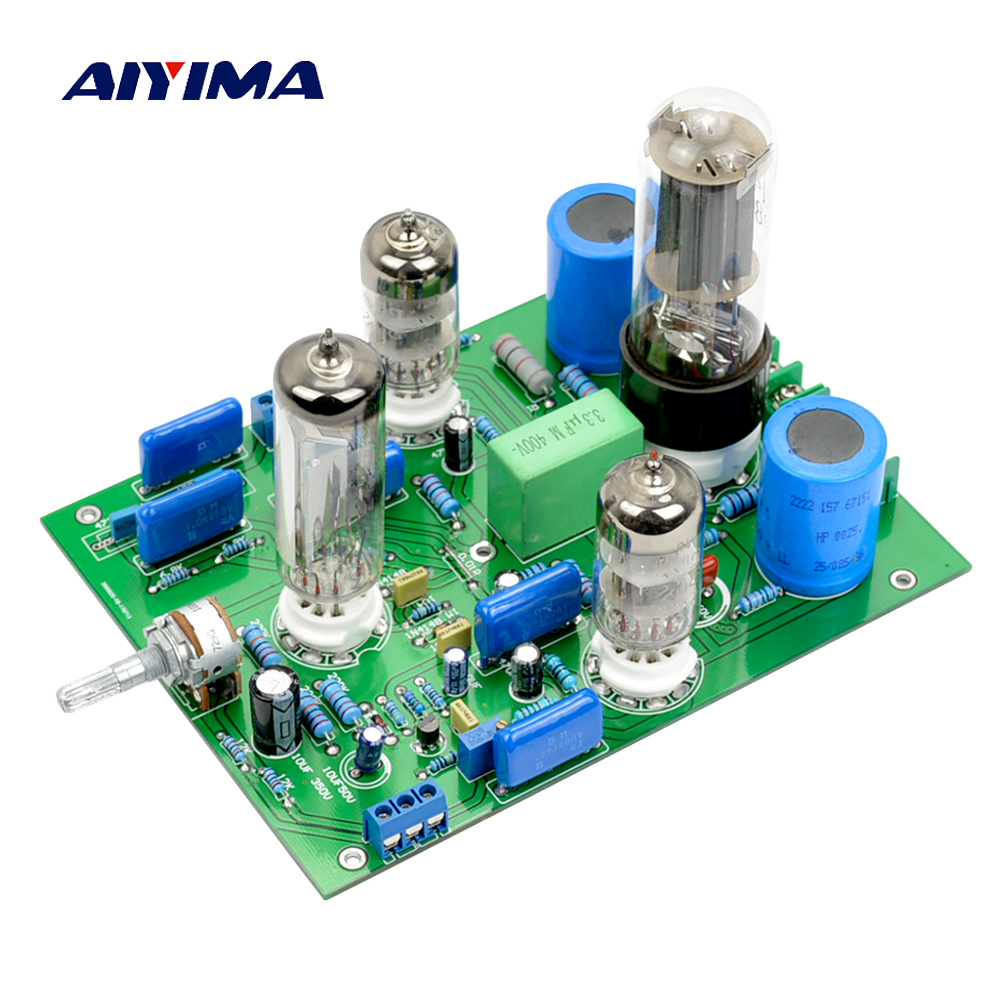 Aiyima Tube Amplifier Preamp 6N3 Tube PreAmplifier SRPP Board 5U4C Rectifier With Magic Eye 6E2 Audio Level Indicator цена 2017