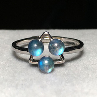 925 Sterling Silver Moonstone Women Ring Natural Labradorite Flash Stone Adjustable Geometry Female Rings Finger Jewelry Gift