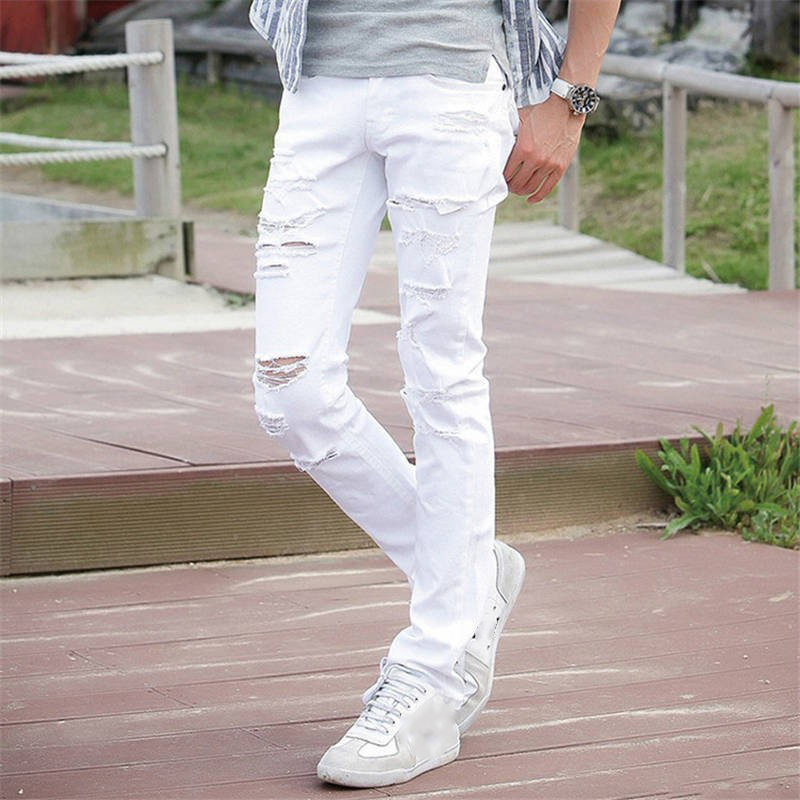 New White Ripped Jeans Men With Holes Super Skinny Famous Designer Brand Slim Fit Destroyed Torn Jean Pants For Male