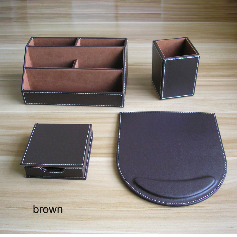 4PCS/set PU Leather Wood Office Desk Organizer Stationery Holder Organizer Material De Oficina Y Escritorio Brown Black K219