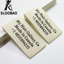 1000pcs roll cotton tag cloth label custom logo printed clothing tags beige bottom colors