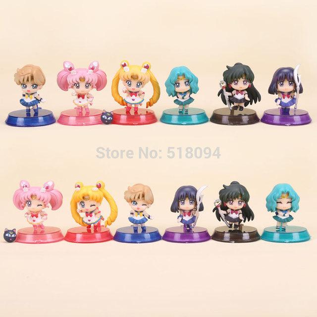 Anime Sailor Moon Tsukino Usagi + Neptuno + Plutón Saturno + + Chibi moon PVC Figuras de Acción Juguetes SAFG025