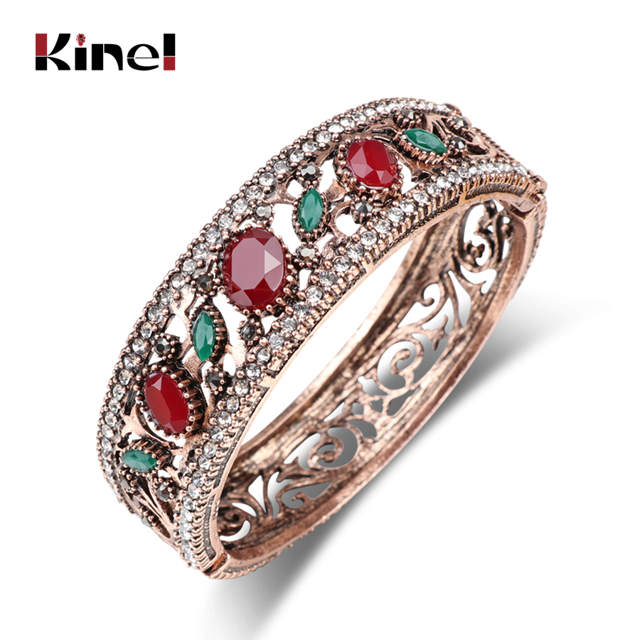 Kinel Vintage Antique Gold Color Big Bangles Full Crystals Red Resin Bracelet Brand Turkish Jewelry Women's Bracelets 2017 New